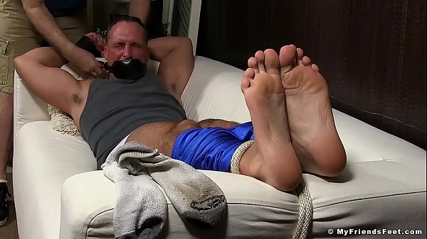 Foot, Tied, Lick foot, Lick feet, Mature tied, Foot lick