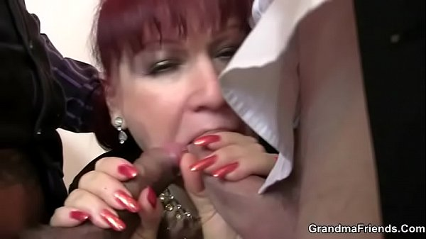 Threesome, Old woman, Old cock